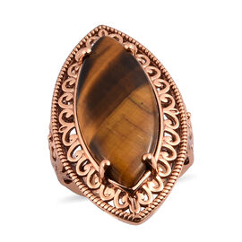 Tigers Eye Solitaire Ring in Bronze Tone 16.25 Ct.