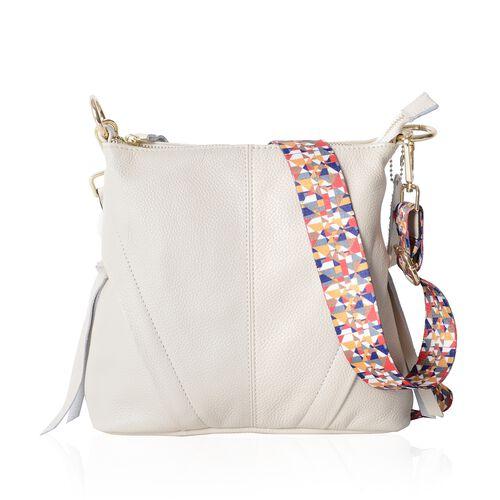 Super Soft 100% Genuine Leather Off White Colour Crossbody Bag with External Zipper Pocket and Rainb