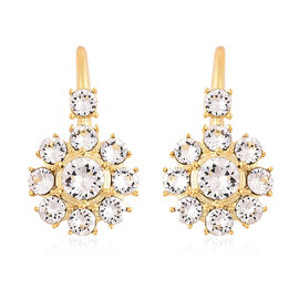 J Francis Crystal from Swarovski White Crystal (Rnd) Hook Earrings in Yellow Gold Overlay Sterling S