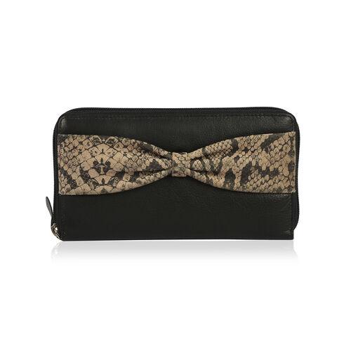 Classic Black 100% Genuine Leather Snakeskin Print Bow RFID Blocking Clutch Wallet (Size 19x2.5x10 c