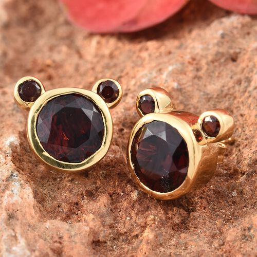 Mozambique Garnet Mickey Mouse Stud Earrings (with Push Back) in Yellow Gold Vermeil Sterling Silver 5.75 Ct
