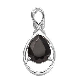Elite Shungite (Pear) Solitaire Pendant in Platinum Overlay Sterling Silver 1.500 Ct.