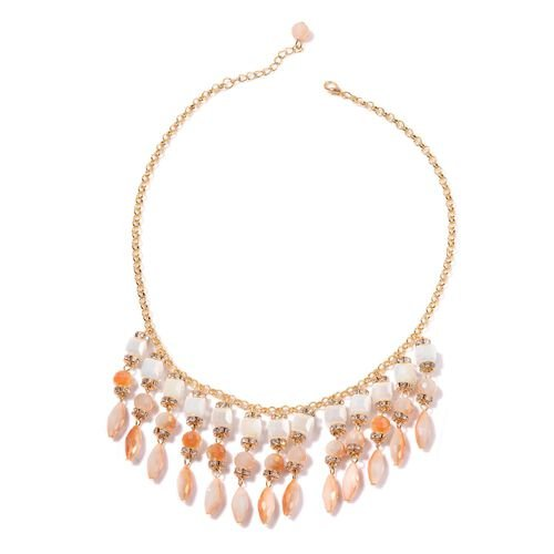 White and Champagne Colour Seed Beaded, White Austrian Crystal Necklace (Size 20) in Gold Tone