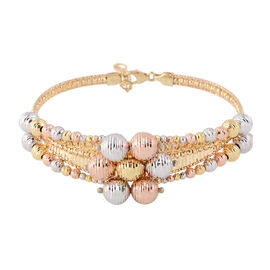9K White, Yellow and Rose Gold Bangle (Size 7 with 1 inch Extender), Gold wt 11.08 Gms