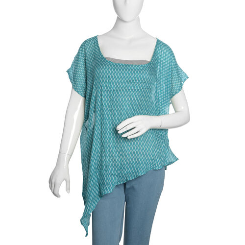 Designer Inspired- Turquoise and White Colour Printed Floaty Top(Free Size)