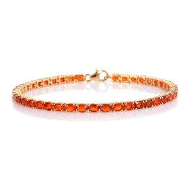 Jalisco Fire Opal (Ovl) Bracelet (Size 6.75) in Rhodium Overlay Sterling Silver 4.012 Ct, Silver wt