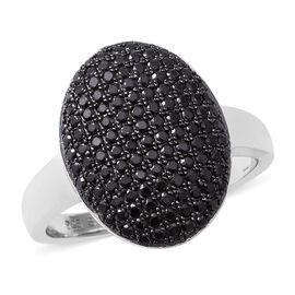 Boi Ploi Black Spinel (Rnd) Cluster Ring in Rhodium Overlay Sterling Silver 1.260 Ct, Number of Gemstone 126