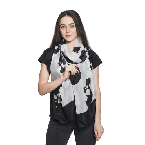 100% Mulberry Silk Skull Printed Black and White Colour Scarf (Size 180x100 Cm)