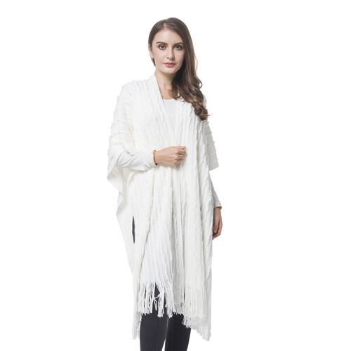 Designer Inspired-White Colour Stripes Pattern Knitted Long Poncho with Tassels (Size 90X75 Cm)