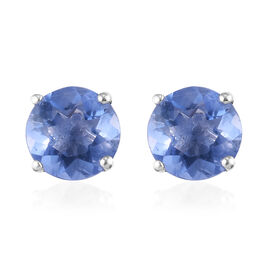 Colour Change Fluorite Stud Earrings (with Push Back) in Sterling Silver 2.00 Ct.