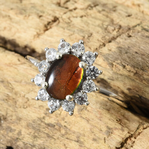 AA Canadian Ammolite (Ovl 8x6 mm), Natural White Cambodian Zircon Halo Ring in Platinum Overlay Sterling Silver.