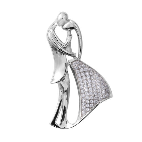 ELANZA Simulated Diamond (Rnd) Couple Pendant in Rhodium Overlay Sterling Silver