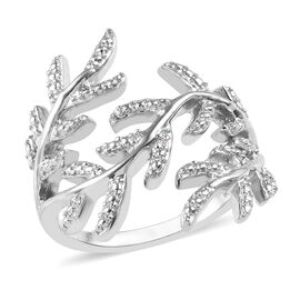 Diamond Laurel Leaf Ring in Platinum Plated Silver