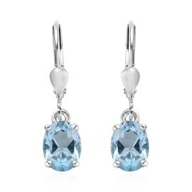 Sky Blue Topaz (Ovl) Lever Back Earrings Platinum Overlay Sterling Silver 2.75 Ct.