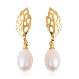 RACHEL GALLEY Freshwater White Pearl Lattice Feather Drop Earrings (with Push Back) in Yellow Gold O