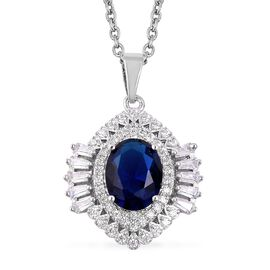 Simulated Blue Sapphire and Simulated Diamond Pendant With Chain in Silver Tone Size 20 Inch