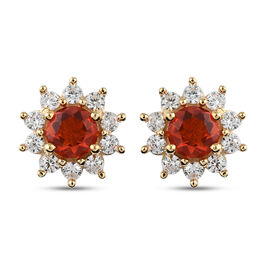 Salamanca Fire Opal and Natural Cambodian Zircon Earrings (with Push Back) in 14K Gold Overlay Sterl