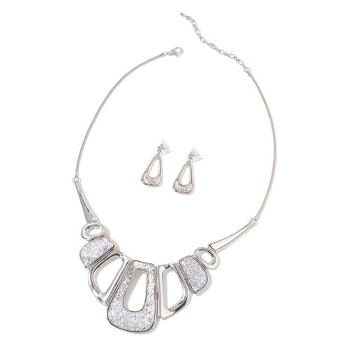 Abstract Style Necklace (Size 20 with 2 inch Extender) and Earrings (with Push Back) in Silver Tone
