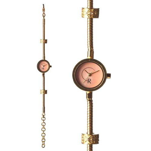 RACHEL GALLEY Pink Mother of Pearl Japanese Movement 1 Micron Gold Plating Snake Bracelet Timepiece