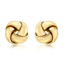 9K Yellow Gold 4-Way Knot Stud Earrings (with Push Back)