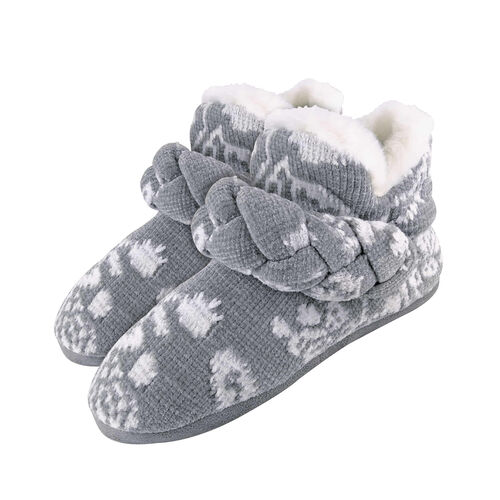Dunlop Knitted Warm Fleece Slippers Boots (Size 7) - Grey