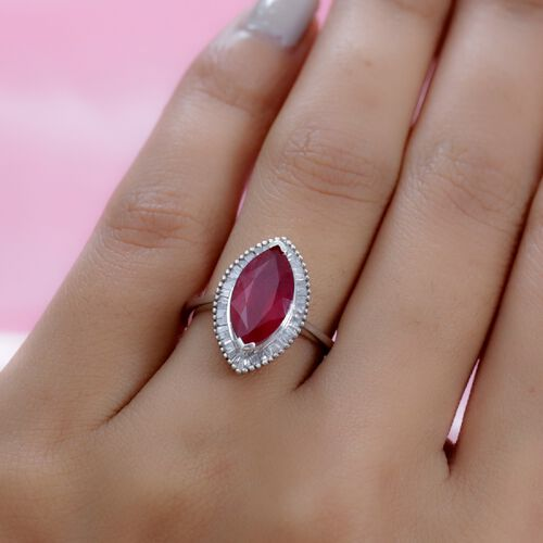 AA African Ruby (FF) and Diamond Platinum Overlay Sterling Silver Ring 4.13 Ct