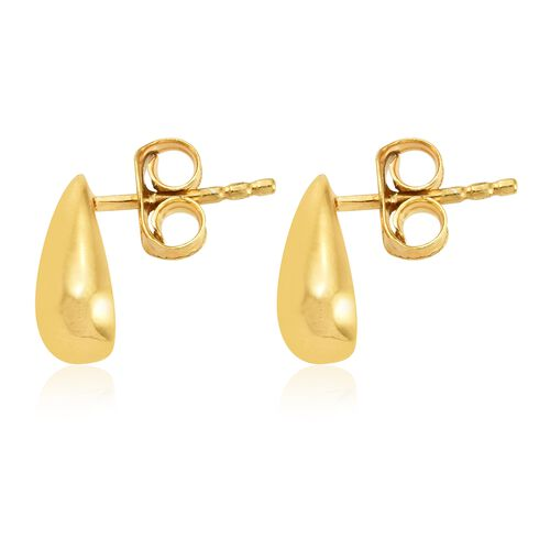 Pear Stud Earrings (with Push Back) in Gold Plated Silver