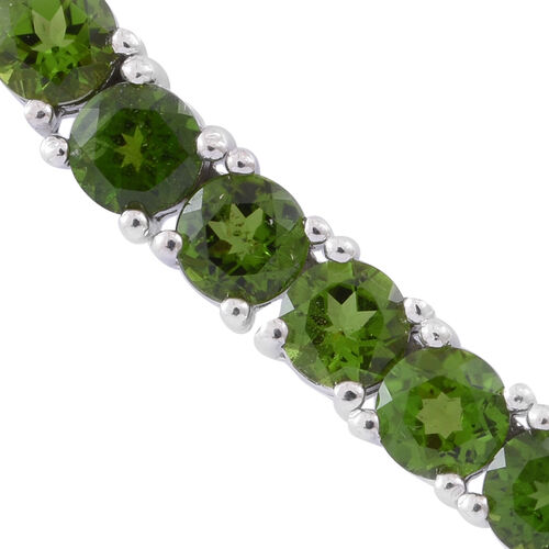 Exclusive Edition- Russian Diopside (Rnd) Necklace (Size 17.5) in Rhodium Plated Sterling Silver 28.000 Ct. Silver Wt 26.50 Gms Number of Gemstone 103
