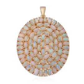 Ethiopian Welo Opal (Ovl) Cluster Pendant in Yellow Gold Overlay Sterling Silver 12.67 Ct, Silver wt