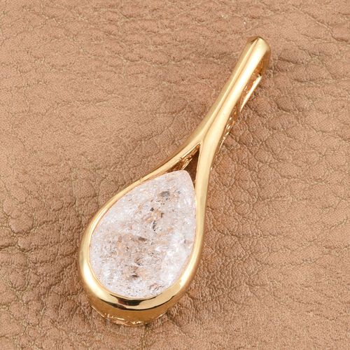 Diamond Crackled Quartz (Pear) Solitaire Pendant in 14K Gold Overlay Sterling Silver 5.500 Ct.