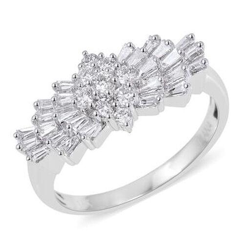 ILIANA 18K White Gold IGI Certified Diamond (Rnd and Bgt) (SI/G-H) Ring 1.00 Ct.