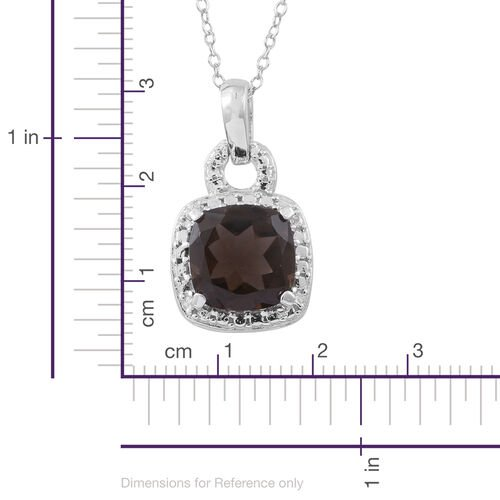 Brazilian Smoky Quartz (Cush) Pendant With Chain in Rhodium Plated Sterling Silver 5.000 Ct. Silver wt 3.25 Gms.