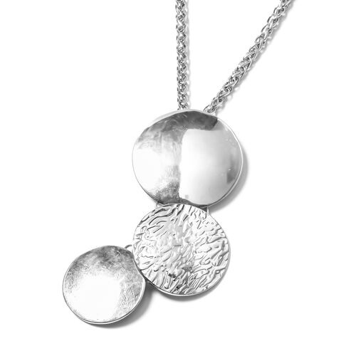 Silver Plated Three Connected Circle Pendant  with Chain (Size 32 with 2.50 inch Extender)
