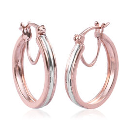 Designer Inspired Hoop Earrings in Platinum and Rose Gold Plated Sterling Silver with Clasp