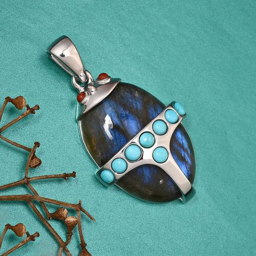 Sundays Child - Labradorite, Arizona Sleeping Beauty Turquoise, Red Jasper Beetle Pendant in Platinum Overlay Sterling Silver 35.500 Ct.