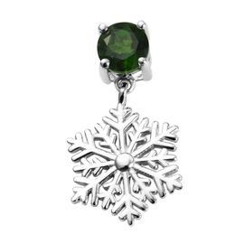 Russian Diopside (Rnd) Snowflake Design Pendant in Platinum Overlay Sterling Silver 1.00 Ct.