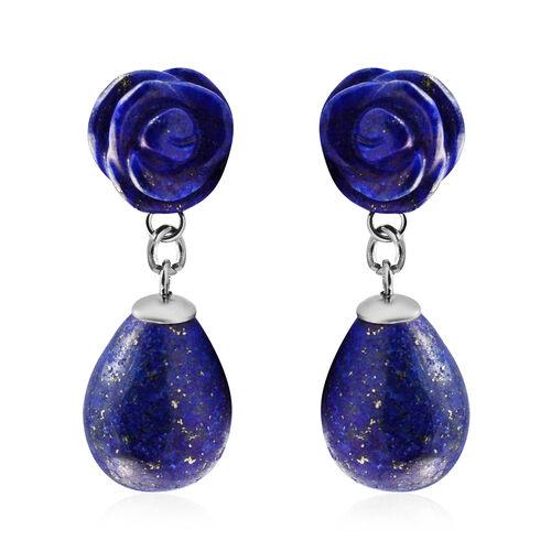 38 Ct Lapis Lazuli Drop Earrings in Stainless Steel