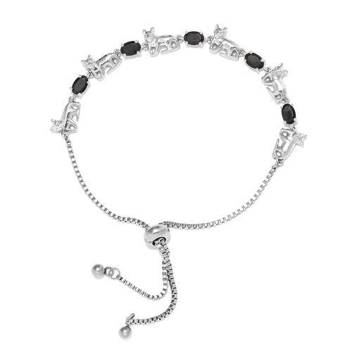 Boi Ploi Black Spinel (Ovl 2.75 Ct) Bolo Bracelet (Size 6.5 - 9.5 Adjustable) in Silver Plated 2.750