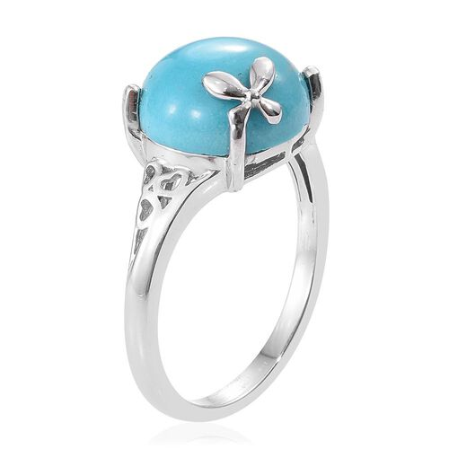 Arizona Sleeping Beauty Turquoise (Rnd) Solitaire Ring in Platinum Overlay Sterling Silver 5.500 Ct.