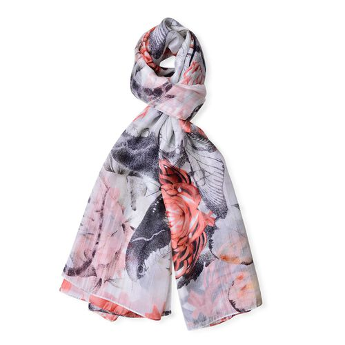 100% Mulberry Silk Peach, Black and White Colour Butterfly and Floral Pattern Scarf (Size 180X110 Cm