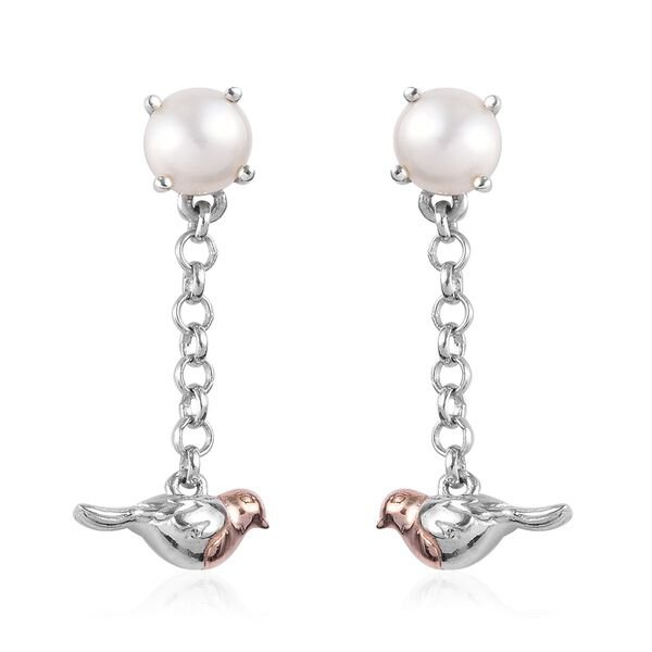 Freshwater Pearl (Rnd) Robin Bird Dangle Earrings (with Push Back) in Platinum and Rose Gold Overlay