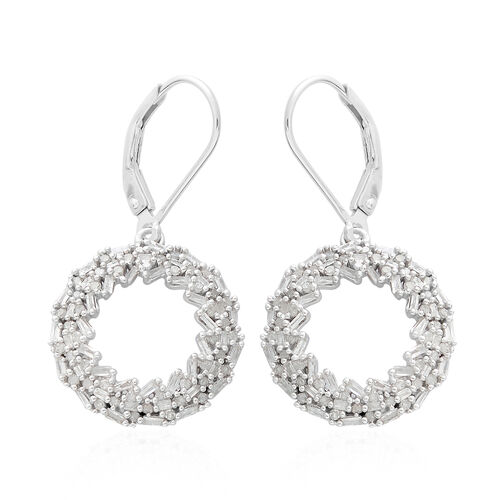 Diamond (Bgt) Circle of Life Lever Back Earrings in Platinum Overlay Sterling Silver 1.000 Ct.