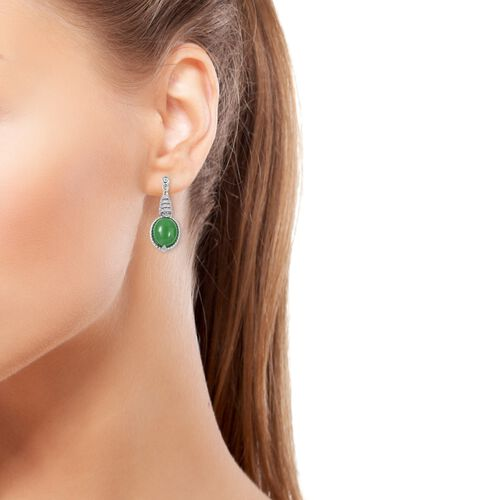 Green Jade (Oval 12x10 mm), Natural White Cambodian Zircon Earrings (With Push Back) in Rhodium Overlay Sterling Silver 12.784 Ct, Silver wt 5.78 Gms.