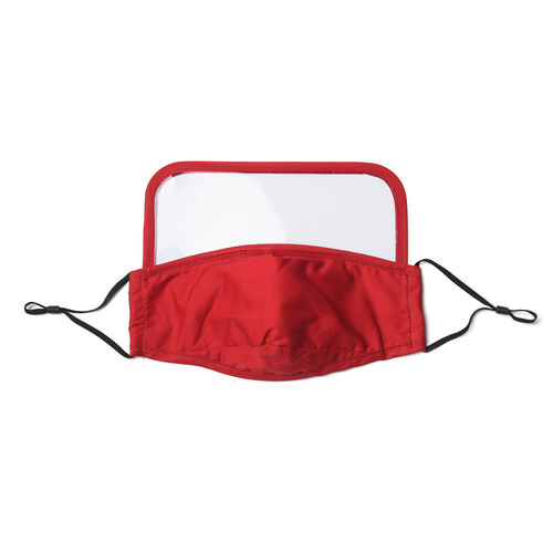Reusable Face Covering with Eye Shield and Adjustable Ear Loop (Size 22x18cm) - Red