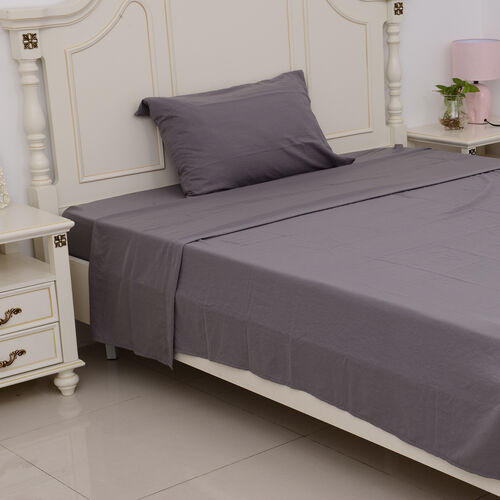Single Size Sheet Set of 3- Extremely Soft Stone Washed Grey Colour Fitted Sheet (190x90x30 Cm), Flat Sheet (260x180+5 Cm) and Pillow Case (75x50+5 Cm)
