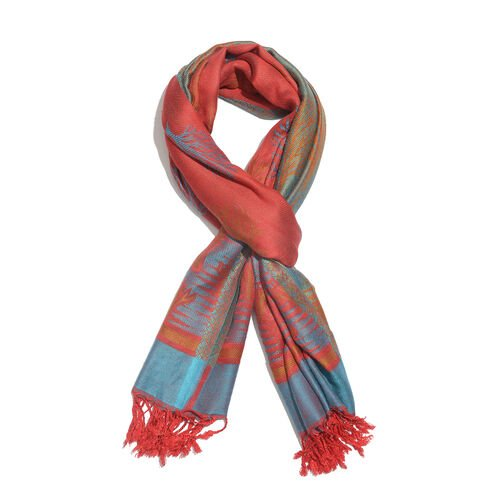 Red, Blue and Multi Colour Tree Pattern Jacquard Scarf (Size 190x70 Cm)
