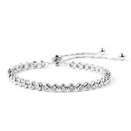 Close Out Buy - Cubic Zirconia Adjustable Bracelet (Size 6.5-9.0) in Rhodium Overlay Sterling Silver