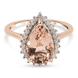9K Rose Gold   Morganite ,  White Diamond  Main Stone With Side Stone Ring 3.23 ct,  Gold Wt. 2.18 G