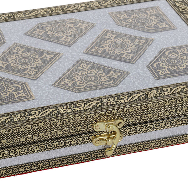 Red Handcrafted Golden Embossed Aluminum Jewellery Box with Transparent Window (27.94x20.32x5.08 Cm)