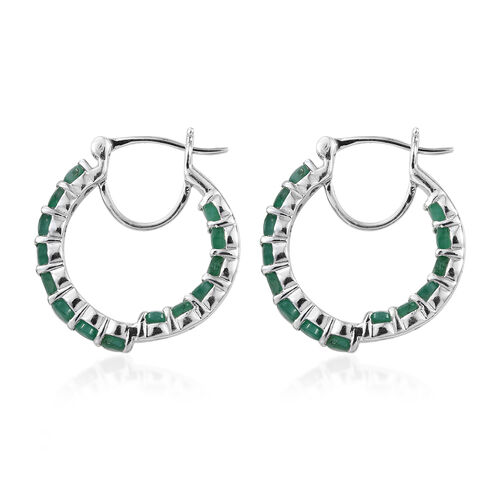 Kagem Zambian Emerald (Rnd) Hoop Earrings (with Clasp) in Platinum Overlay Sterling Silver 3.000 Ct, Silver wt 5.64 Gms